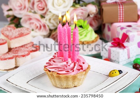 Cute fragment of birthday table close-up - stock photo