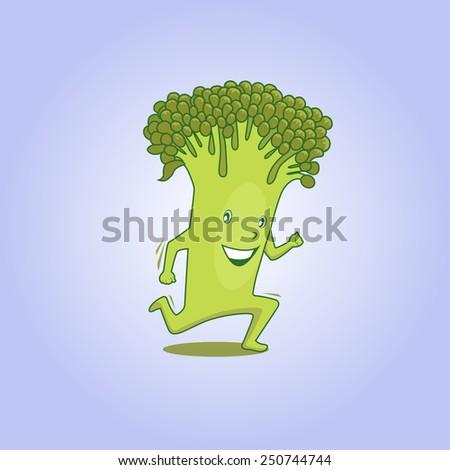 Cute fresh running cartoon broccoli. Raster version of vector file. - stock photo