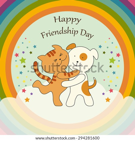 Cute Friendship Day card as Cat and Dog union on harmony rainbow background - stock photo