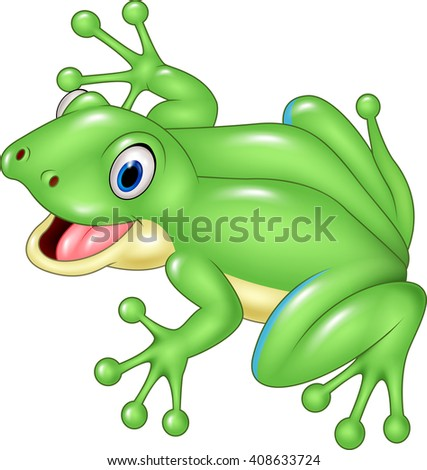 Cute frog isolated on white background