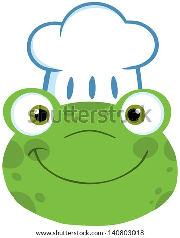 Cute Frog Smiling Head With Chef Hat. Raster Illustration - stock photo