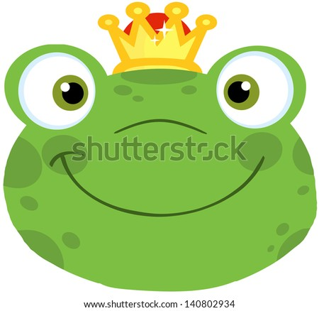 Cute Frog Smiling Head With Crown. Raster Illustration - stock photo