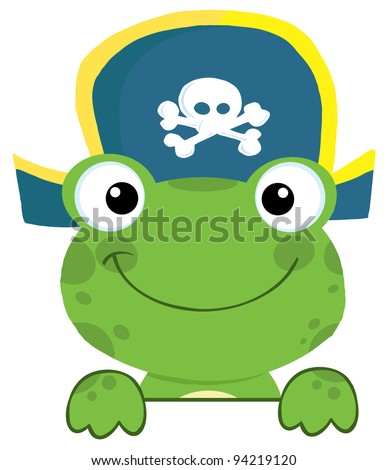 Cute Frog With Pirate Hat Over A Sign Board - stock photo