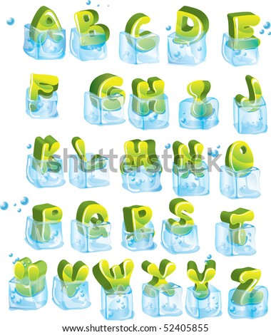 Cute frozen glossy green alphabet in ice-cubes - stock photo