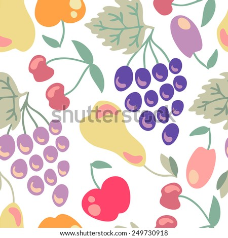 Cute fruit pattern. Pears, grapes, apple, plums, cherry, - stock photo