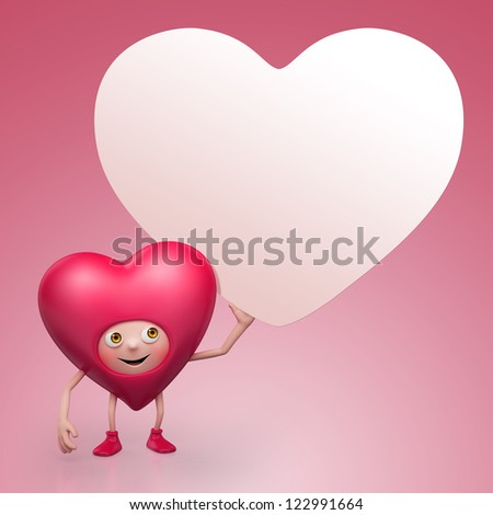 cute funny cartoon heart holding Valentine day greeting card. Three dimensional character render