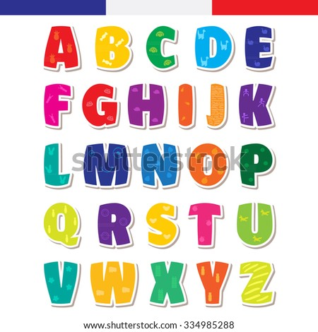 Cute funny childish french alphabet font illustration