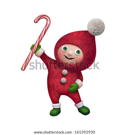 cute funny Christmas elf cartoon holding candy cane, isolated on white background - stock photo