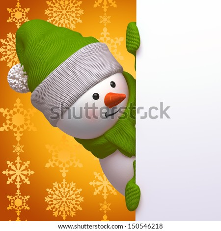 cute funny curious snowman, 3d character holding blank page, hiding behind the corner - stock photo