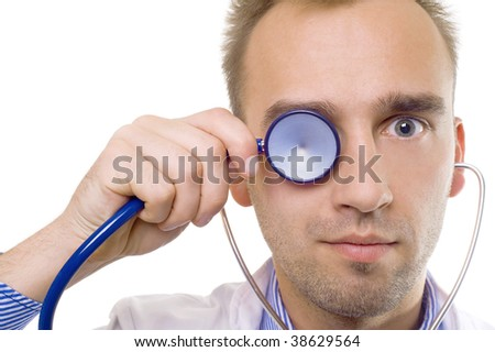cute funny doctor with stethoscope, on white background