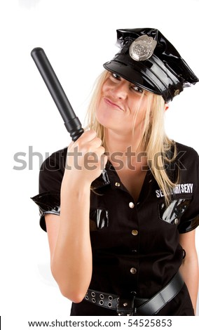 Cute funny girl wearing a police uniform and holding a stick