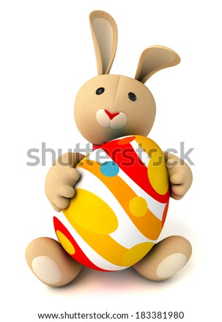 Cute funny toy bunny holding in the paws of a large Easter egg. Isolated on white background. 3d render - stock photo