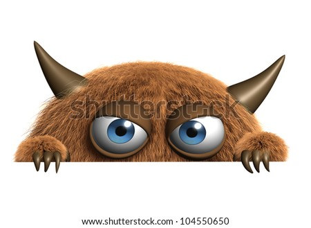 cute furry alien - stock photo