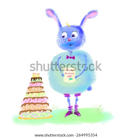 "Cute furry bunny with a strange postcard ""Happy Birthday"", illustration of rabbit - stock photo"