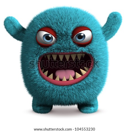 cute furry monster - stock photo