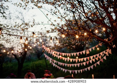 cute garland of colored flags and light bulbs