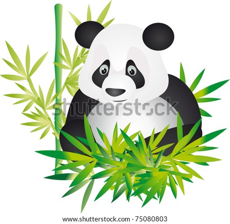 Cute giant panda sitting between the bamboo in china. Illustration - stock photo