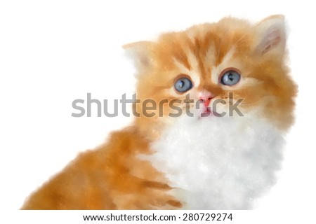 Cute ginger kitten isolated on white background. Painting/watercolor.