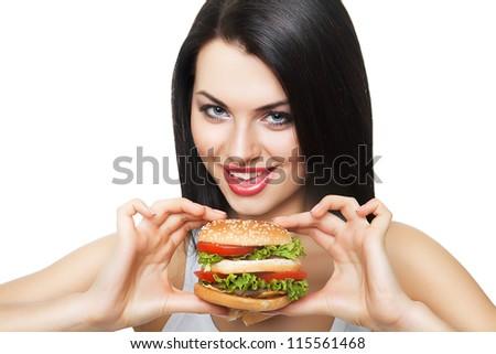 cute girl and hamburger on white background - stock photo