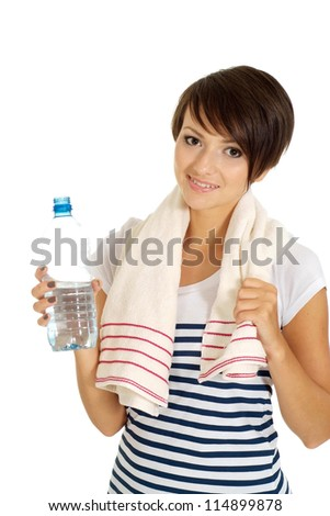 Cute girl at the gym on a white background - stock photo