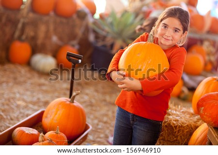 Cute Girl Choosing A Pumpkin at A Pumpkin Patch One Fall Day.