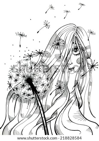 Cute girl covering her face with long hair. Dandelion blowing in front plan. Hand drawn illustration. Isolated on white
