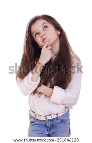 Cute girl deep in thought looking away, isolated on white background - stock photo