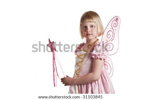 Cute girl dressed up as a fairy on white background - stock photo