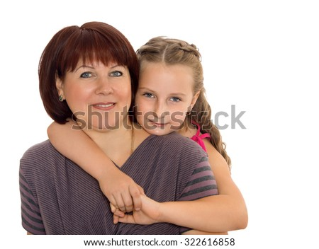 Cute girl hugs the neck of your beloved mother .-Isolated on white background
