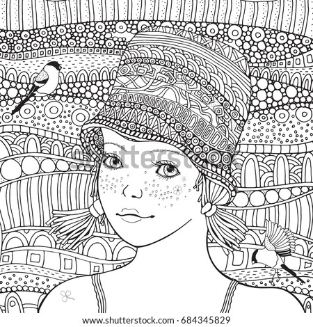 Cute Girl In A Knitted Hat And Little Bird Coloring Book Page For Adult