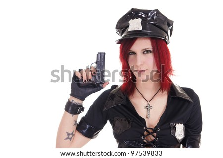 cute girl in a police suit on white