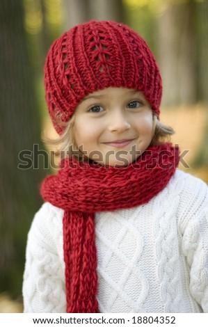 Cute girl in autumn park portrait - stock photo