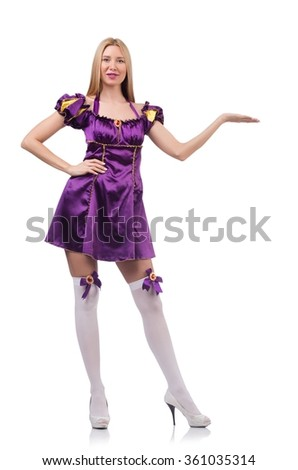 Cute girl in purple masquerade dress isolated on white - stock photo