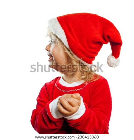 cute girl in Santa Claus clothing isolated on white background - stock photo