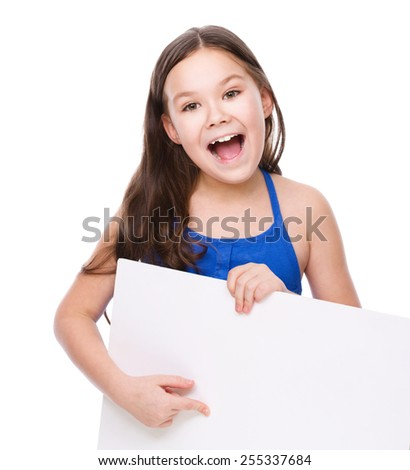 Cute girl is holding blank banner, isolated over white - stock photo