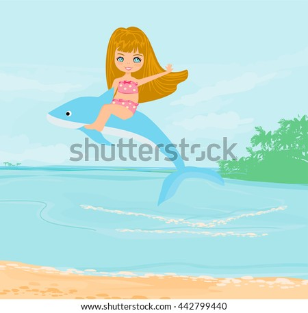 cute girl is riding a dolphin - stock photo