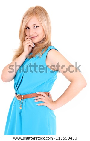 Cute girl isolated over white background - stock photo