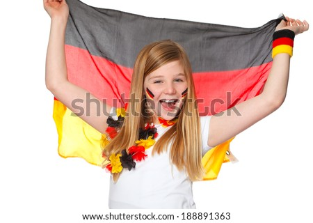 cute girl jubilates with german flag for german team