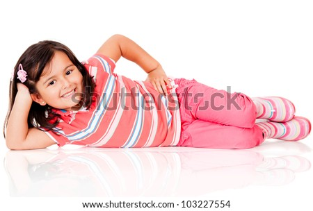 Cute girl lying on the floor - isolated over a white background - stock photo