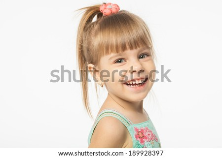 Cute girl on white background