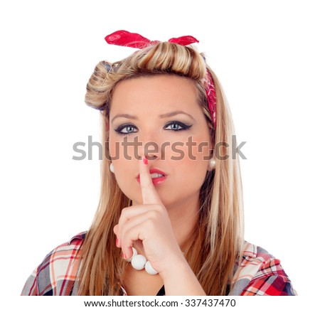 Cute girl ordering silence in pinup style isolated on a white background - stock photo