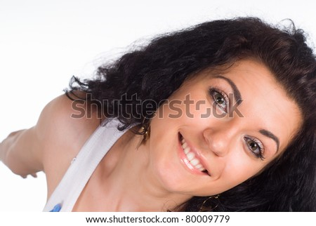cute girl posing on a white background