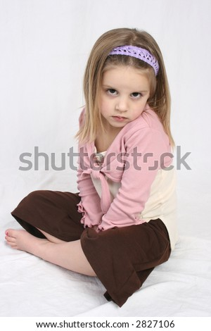 cute girl pouting - stock photo