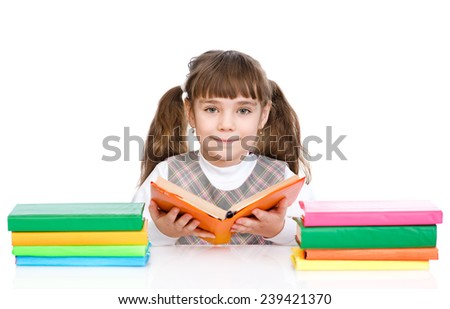 cute girl read book. isolated on white background - stock photo