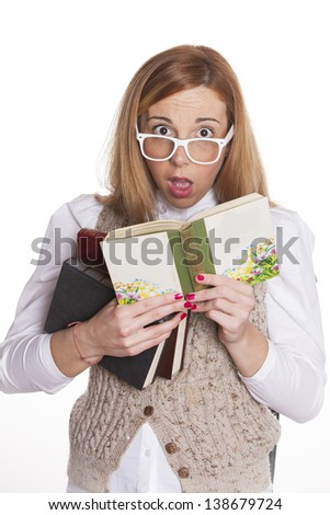 Cute Girl reading studying book