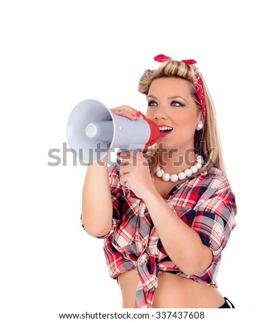 Cute girl shouting by megaphone in pinup style isolated on a white background - stock photo