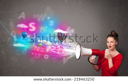 Cute girl shouting into megaphone and abstract text and balloons come out - stock photo