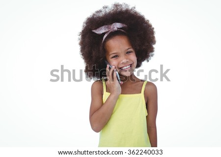Cute girl standing on a phone call on white screen