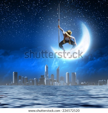 Young fairy girl put moon on stock vector 356202599 for Fishing rod sun and moon