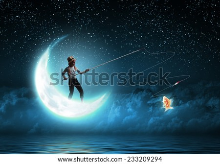 Happy halloween cute little witch broomstick stock photo for Fishing rod sun and moon